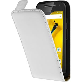 Artificial Leather Case for Motorola Moto E 2015 2. Generation Flipcase white