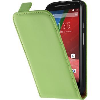 Kunst-Lederhülle für Motorola Moto G 2014 2. Generation Flip-Case grün + 2 Schutzfolien