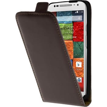 Artificial Leather Case for Motorola Moto X 2014 2. Generation Flipcase brown