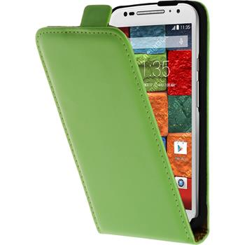 Artificial Leather Case for Motorola Moto X 2014 2. Generation Flipcase green