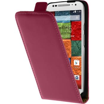 Artificial Leather Case for Motorola Moto X 2014 2. Generation Flipcase hot pink