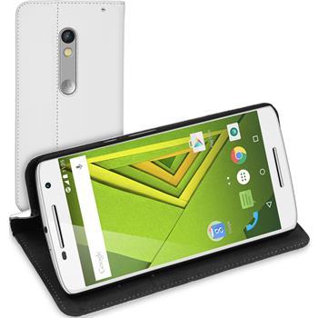 Kunst-Lederhülle für Motorola Moto X Play Book-Case weiß + 2 Schutzfolien