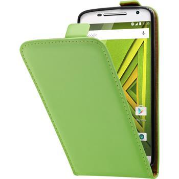 Kunst-Lederhülle für Motorola Moto X Play Flip-Case grün + 2 Schutzfolien