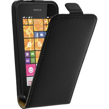 Kunst-Lederhülle Lumia 530 Flip-Case schwarz