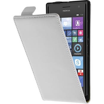 Kunst-Lederhülle Lumia 730 Flip-Case weiß