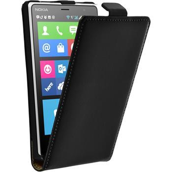 Kunst-Lederhülle für Nokia X2 Flip-Case schwarz + 2 Schutzfolien