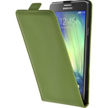 Kunst-Lederhülle Galaxy A7 (A700) Flip-Case grün