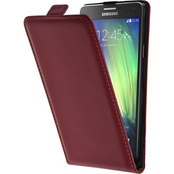 Kunst-Lederhülle Galaxy A7 (A700) Flip-Case pink + 2 Schutzfolien
