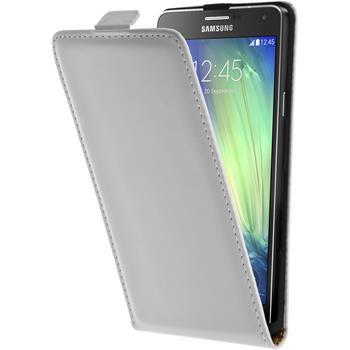 Kunst-Lederhülle für Samsung Galaxy A7 (A700) Flip-Case weiß + 2 Schutzfolien