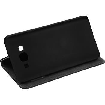 Kunst-Lederhülle für Samsung Galaxy A8 Book-Case schwarz + 2 Schutzfolien