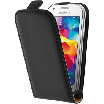 Kunst-Lederhülle für Samsung Galaxy Ace Style Flip-Case schwarz + 2 Schutzfolien