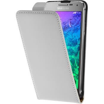 Kunst-Lederhülle für Samsung Galaxy Alpha Flip-Case weiß + 2 Schutzfolien