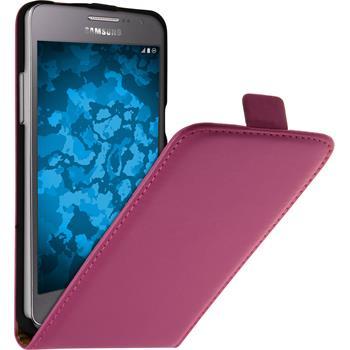 Kunst-Lederhülle für Samsung Galaxy Grand Prime Flip-Case pink + 2 Schutzfolien