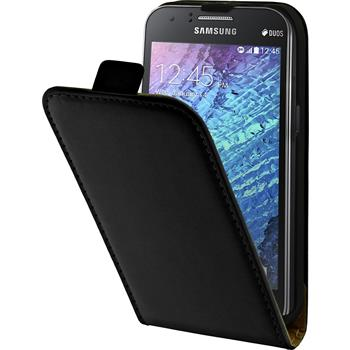 Kunst-Lederhülle Galaxy J1 (J100 2015) Flip-Case schwarz