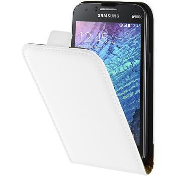 Kunst-Lederhülle Galaxy J1 (J100 2015) Flip-Case weiß