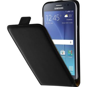 Kunst-Lederhülle Galaxy J2 Flip-Case schwarz