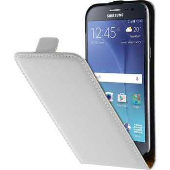 Kunst-Lederhülle Galaxy J2 Flip-Case weiß