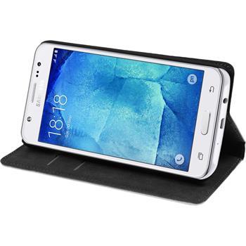 Kunst-Lederhülle für Samsung Galaxy J7 Book-Case weiß + 2 Schutzfolien