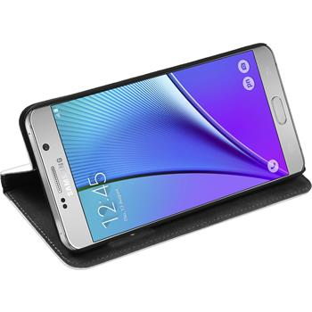 Kunst-Lederhülle Galaxy Note 5 Book-Case weiß