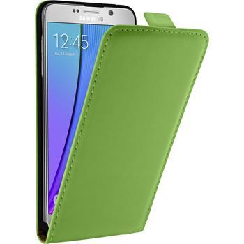Kunst-Lederhülle Galaxy Note 5 Flip-Case grün + 2 Schutzfolien