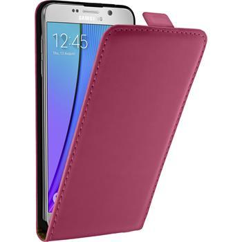 Kunst-Lederhülle für Samsung Galaxy Note 5 Flip-Case pink + 2 Schutzfolien