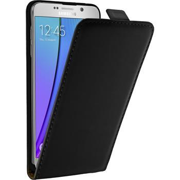 Kunst-Lederhülle für Samsung Galaxy Note 5 Flip-Case schwarz + 2 Schutzfolien