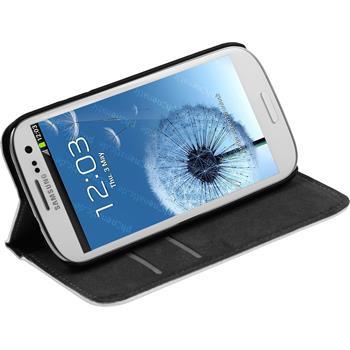 Kunst-Lederhülle Galaxy S3 Neo Book-Case weiß
