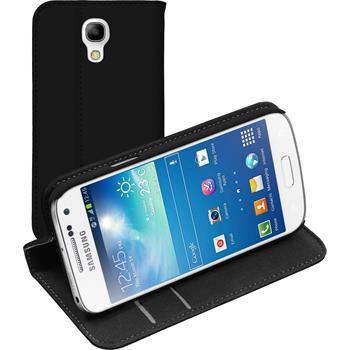 Kunst-Lederhülle für Samsung Galaxy S4 Mini Plus I9195 Book-Case schwarz + 2 Schutzfolien
