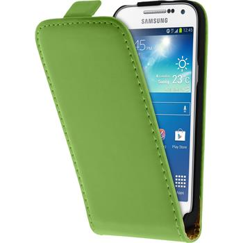 Kunst-Lederhülle Galaxy S4 Mini Plus I9195 Flip-Case grün