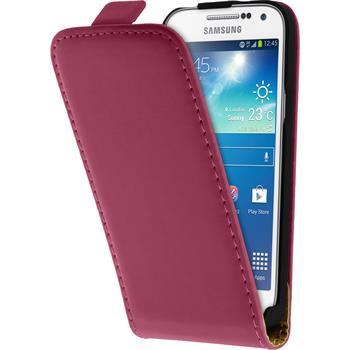 Kunst-Lederhülle für Samsung Galaxy S4 Mini Plus I9195 Flip-Case pink + 2 Schutzfolien