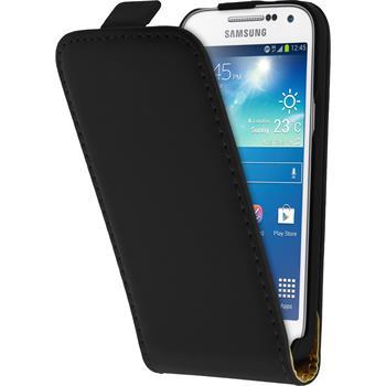 Kunst-Lederhülle für Samsung Galaxy S4 Mini Plus I9195 Flip-Case schwarz + 2 Schutzfolien