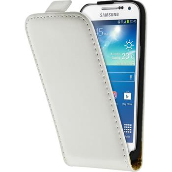 Kunst-Lederhülle Galaxy S4 Mini Plus I9195 Flip-Case weiß