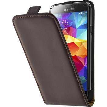 Kunst-Lederhülle für Samsung Galaxy S5 Flip-Case braun + 2 Schutzfolien