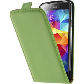 Kunst-Lederhülle für Samsung Galaxy S5 Flip-Case grün + 2 Schutzfolien