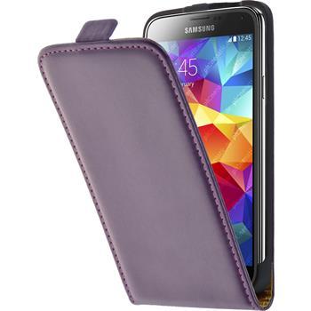 Kunst-Lederhülle Galaxy S5 Flip-Case lila + 2 Schutzfolien
