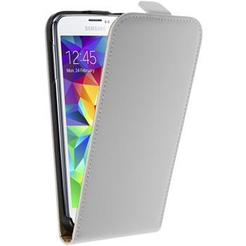 Kunst-Lederhülle für Samsung Galaxy S5 mini Flip-Case weiß + 2 Schutzfolien