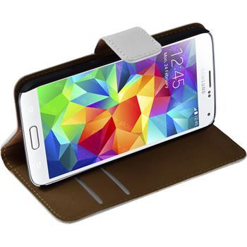 Kunst-Lederhülle Galaxy S5 mini Wallet weiß