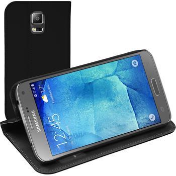 Kunst-Lederhülle Galaxy S5 Neo Book-Case schwarz