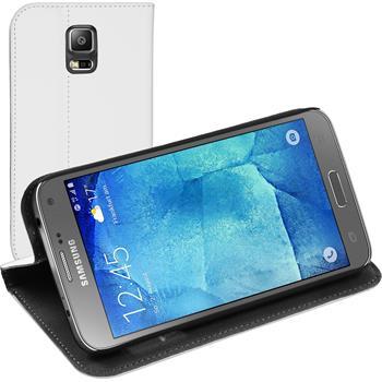 Kunst-Lederhülle für Samsung Galaxy S5 Neo Book-Case weiß + 2 Schutzfolien