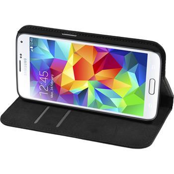 Kunst-Lederhülle Galaxy S6 Book-Case schwarz + 2 Schutzfolien