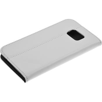 Kunst-Lederhülle Galaxy S6 Book-Case weiß + 2 Schutzfolien