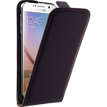 Kunst-Lederhülle für Samsung Galaxy S6 Flip-Case lila + 2 Schutzfolien