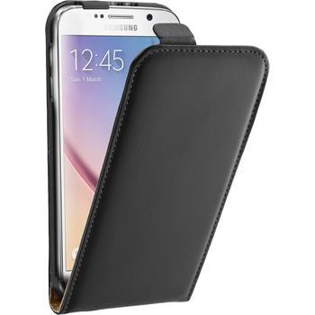 Kunst-Lederhülle Galaxy S6 Flip-Case schwarz