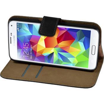Kunst-Lederhülle Galaxy S6 Wallet schwarz + 2 Schutzfolien