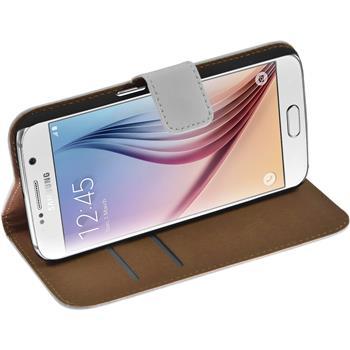 Kunst-Lederhülle Galaxy S6 Wallet weiß