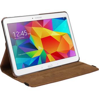 Kunst-Lederhülle für Samsung Galaxy Tab 4 10.1 360° braun + 2 Schutzfolien