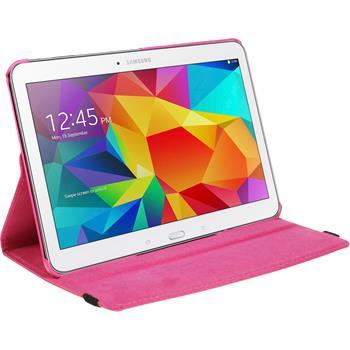 Kunst-Lederhülle für Samsung Galaxy Tab 4 10.1 360° pink + 2 Schutzfolien