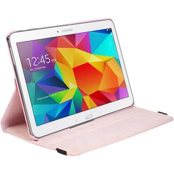 Kunst-Lederhülle für Samsung Galaxy Tab 4 10.1 360° rosa + 2 Schutzfolien