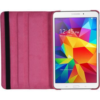 Kunst-Lederhülle für Samsung Galaxy Tab 4 7.0 360° pink + 2 Schutzfolien