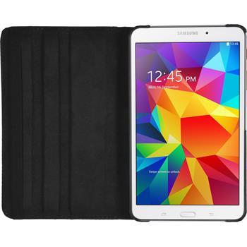 Kunst-Lederhülle für Samsung Galaxy Tab 4 7.0 360° schwarz + 2 Schutzfolien